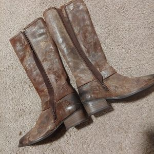 Distressed western knee high boots
